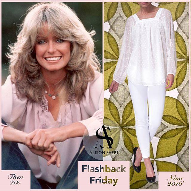 In the 70s Farrah Fawcett paired her radiant smile with a peasant blouse, a floral strand, and denim jeans. #throwback #fbf #instastyle #timeless — Dans les années 70, Farrah Fawcett a porté sont superbe sourire avec une blouse paysanne, une mèche florale, et des jeans classiques.  #rappel #vendredi #instamode #classique