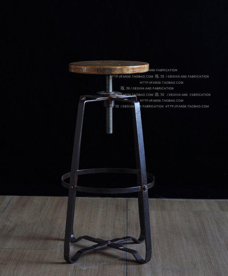 Экспорт мебели / стиле лофт / твердой древесины стороны , чтобы сделать старый античный железный каркас подъема барный стул барный стул