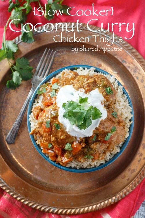{Slow Cooker} Coconut Curry Chicken Thighs - by @Chris Cote Cote Cote Cote Cote @ Shared Appetite