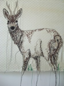 Embroidered deer by Nike Schroeder