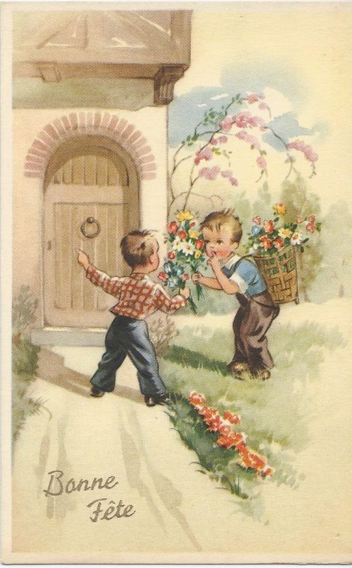 Oude kinderkaart Bloemenhulde, 1955 | Vintage ansichtkaarten | ZomaarVintage