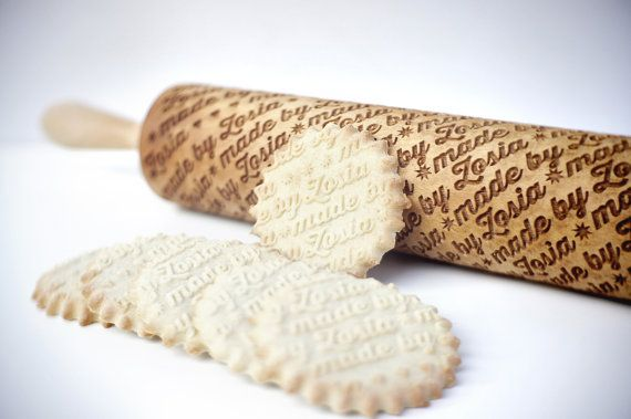 A engraved rolling pin gives even simple sugar cookies a custom touch.