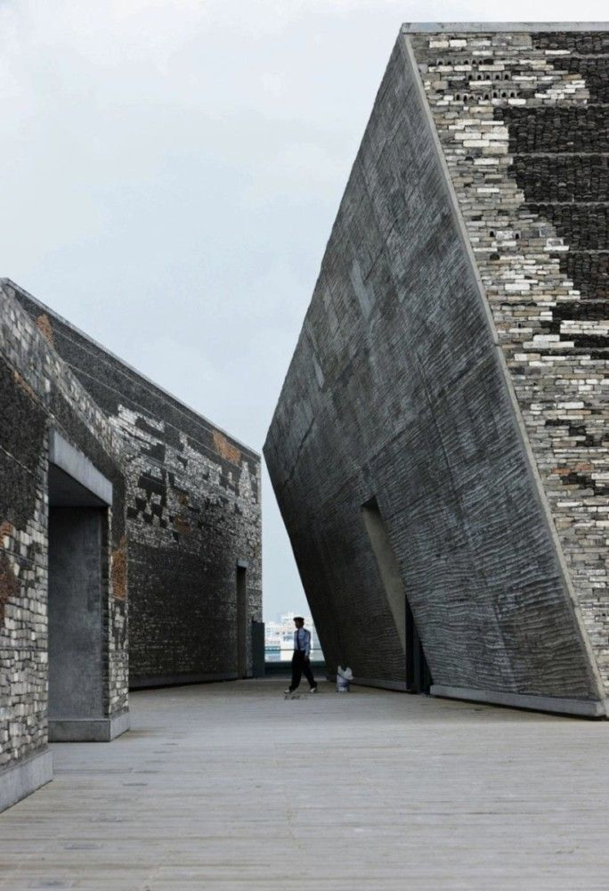 "Architect Wang Shu's Ningbo History Museum in Ningbo, China incorporates ""Wa…"