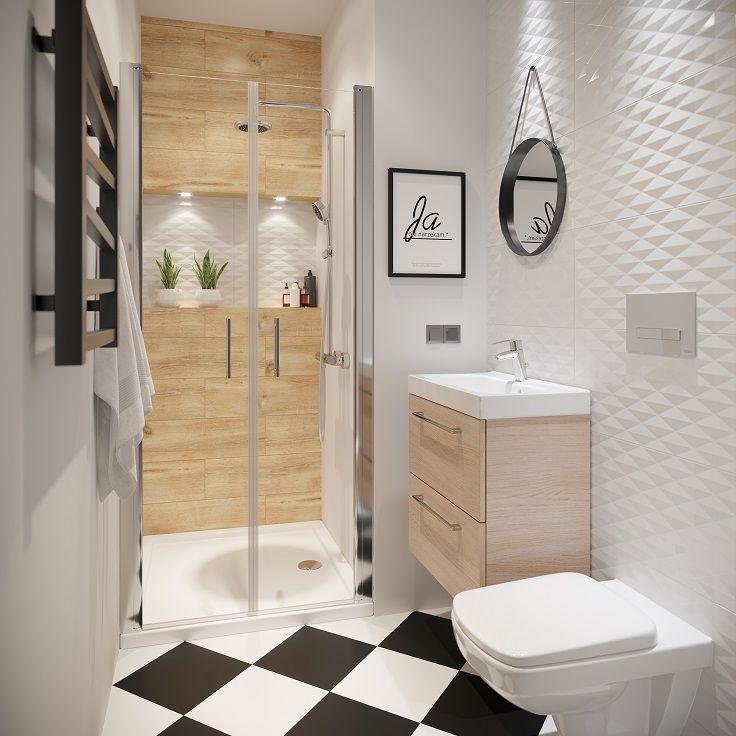 Mala Lazienka Z Drewnianymi Elementami Small Bathroom Bathroom Colors Sensea