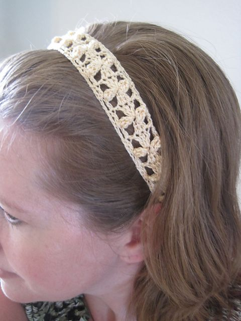 Small Flowers Lace Headband Pattern by Lara Sue ~ Free