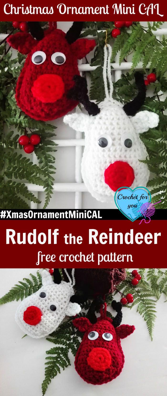 Christmas Ornament Mini CAL – Crochet Rudolf the Reindeer #xmasornamentminical