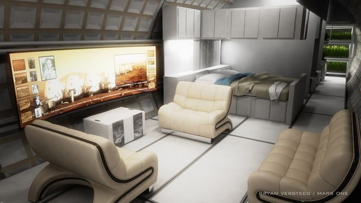 Space Habitat Interior conceptual design image by Bryan Versteeg...One way Mars Mission will be world's best reality TV Show