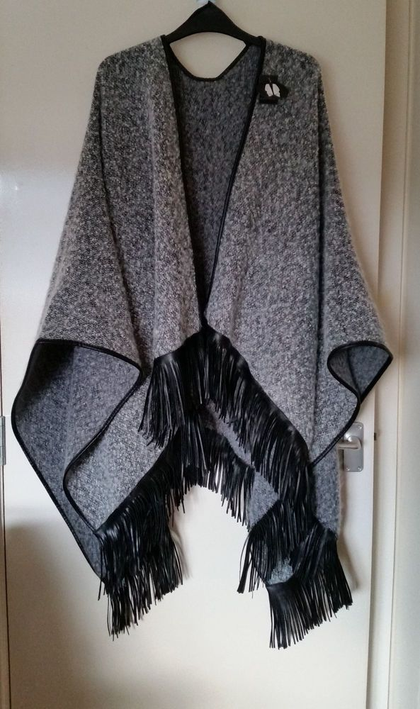 Primark Grey Waterfall Boucle Open Faux Leather Trim Fringe Poncho Wrap Coat in Clothes, Shoes & Accessories, Women's Clothing, Coats & Jackets   eBay!