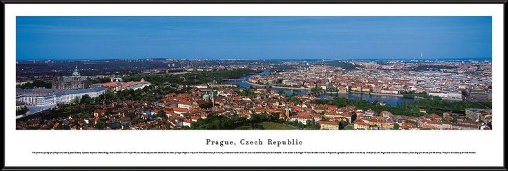 Prague Skyline Panoramic Picture Framed, Czech Republic