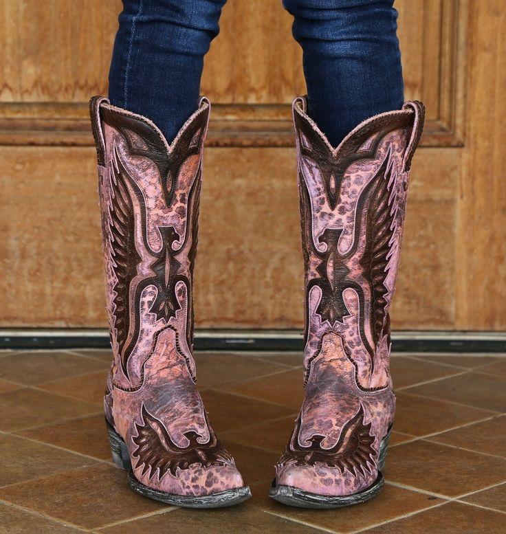 Old Gringo Pink Eagle Leopard Boots