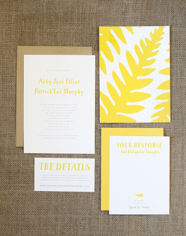 Rustic Yellow Fern Wedding Invitation Set