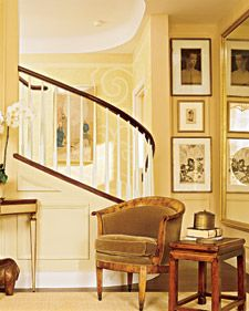 Butter yellowDecor, Wall Colors, Ideas, Yellow Wall, Living Room, Yellow Room, Martha Stewart, Step Up, Spirals Staircas