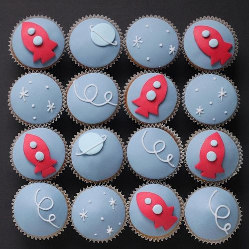 "Retro rocket cupcakes. I love ""hello naomi""'s designs. Such clean lines and excellent use of color."