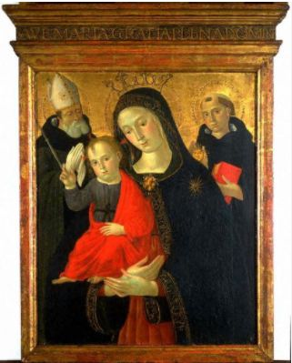 Unknown (Italian, 15th century). Madonna and Child with St. Thomas Aquinas and a Bishop Saint, 1440-1480. The University of Michigan Museum of Art, Michigan. Gift of Alice Berle Crawford, 1992. http://www.umma.umich.edu
