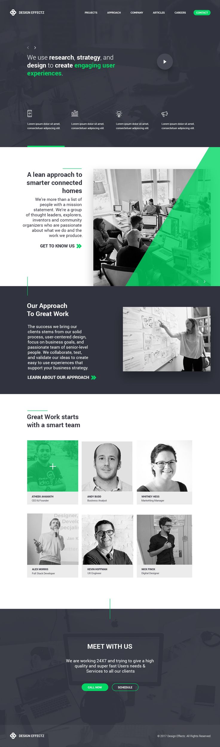 Website landing page design. I like the grid and using green on gray as the main color.