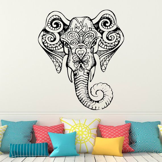 Wall Decal Indian Elephant Stickers  Elephant Yoga Ganesh Wall Decal Indie  Buddha Wall Art Bedroom