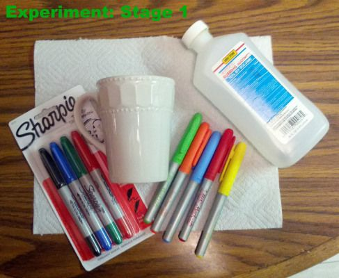Sharpie Mug Decorating: Clean mug with alcohol.  Decorate, then bake at 450 for 30 min. Let preheat and cool down with mug in oven.