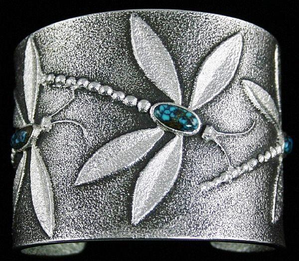 Darryl Dean Begay Rare Gem Grade Apache Blue Spiderweb Turquoise Tufa Cast Sterling Silver Dragonfly Design Bracelet