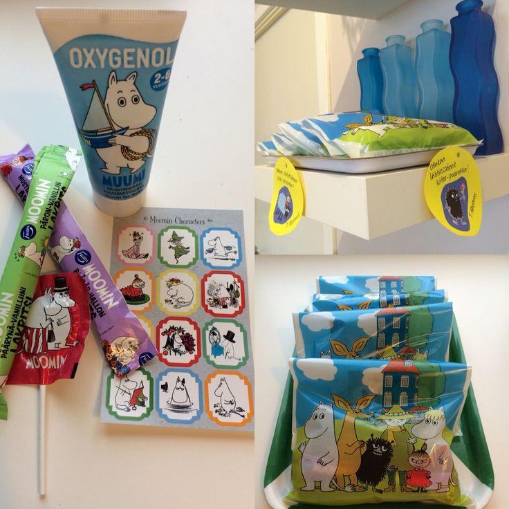 Muumi-teemaiset synttärit. Kiitos-pussukat lapsille. / Moomin themed birtdayparty. Thankyou-bags for the kids.