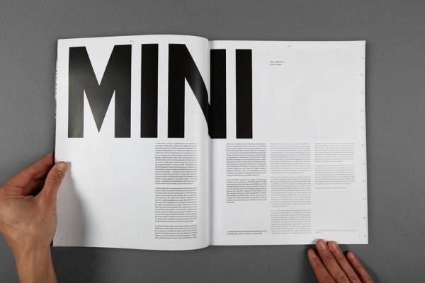 This magazine uses four-column to layout. The important word uses bold and black to emphasize it, and uses maybe more than 100pt to express. although there is no picture on these two pages, the big word is enough to add more visual impact.