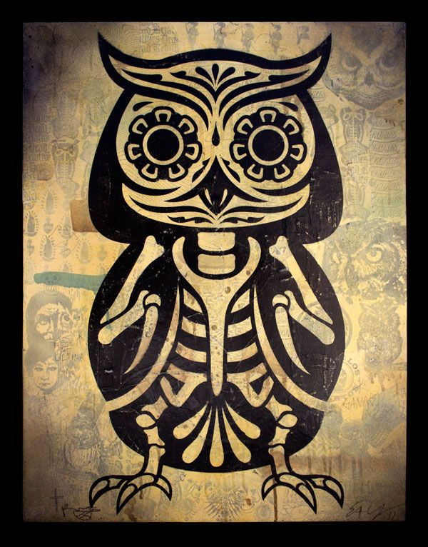Owl of the Dead Philip Lumbang & Ernesto Yerena 20″ x 26″ Stencil collage on canvas