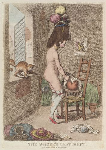 """The Whore's Last Shift"",1779 by James Gillray. Excuse the nudity, but it accurately shows how stockings and garters were worn."