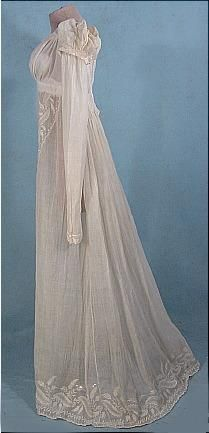 Antique Dress - 1805  Beautiful Empire waist with lace in a diagonal done the front