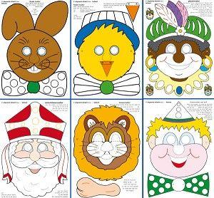 6 maskers (sinterklaas, zwarte piet, kuiken, haas, clown en leeuw)