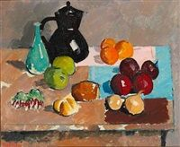 Still life with fruits, jug and vase on a table by Olaf Rude