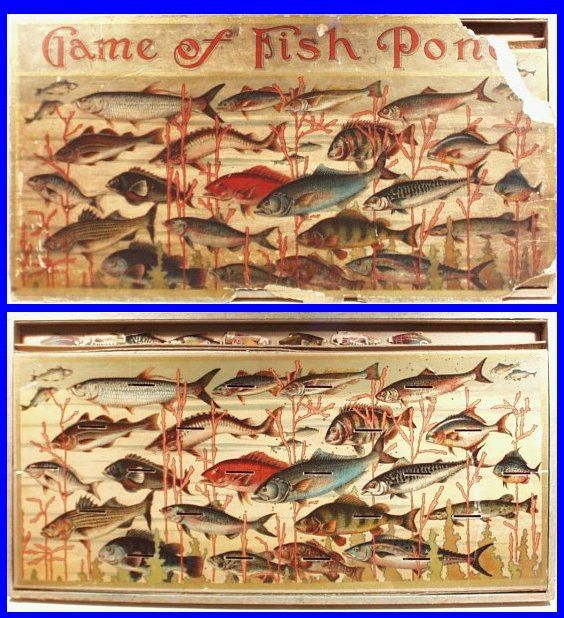 *RARE* Vintage Jan. 28, 1890 GAME OF FISH POND Victorian Game in Original Box