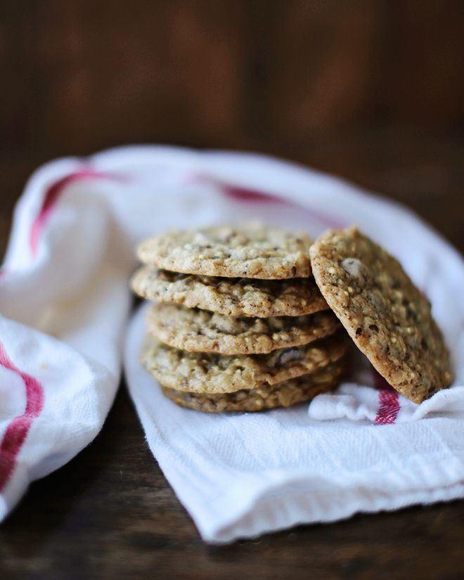 Kitsilano Cookies - loaded with oats, rolled barley, whole millet, flax, sunflower seeds and dried fruit. And chocolate, of coarse.