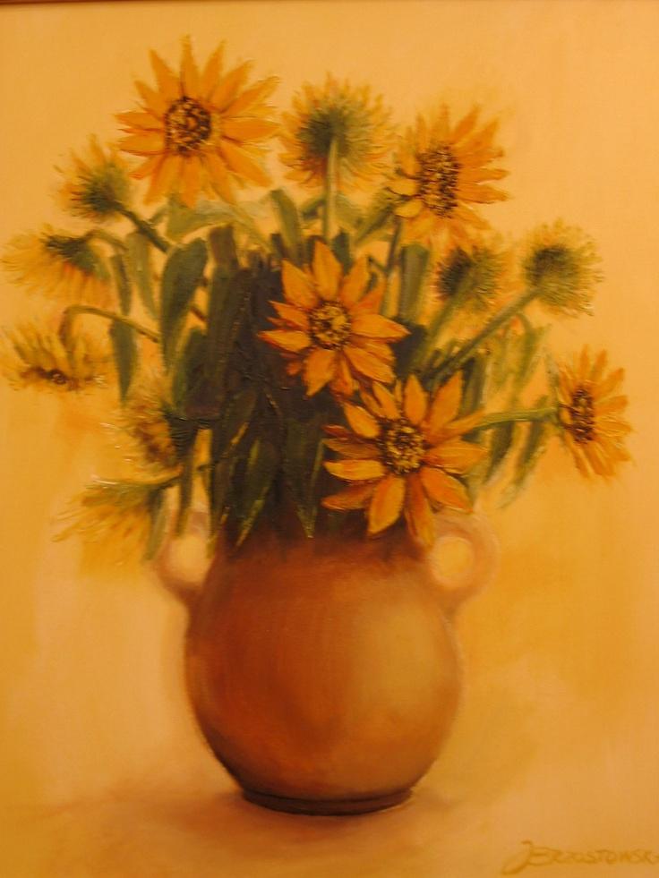 Sunflower. (73 cm x 60 cm) acrylpaint Joanna Brzostowska
