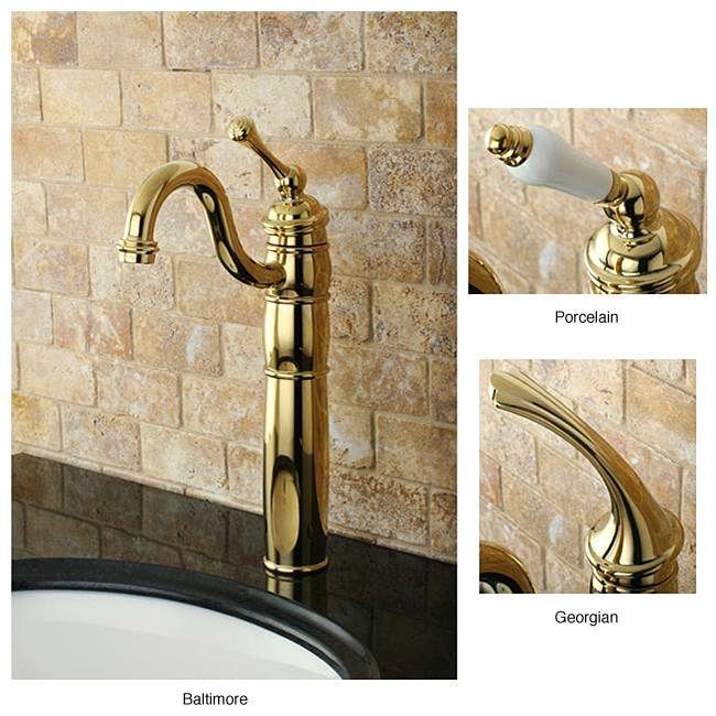 Heritage Polished Brass Vessel Faucet (Porcelain Handles)