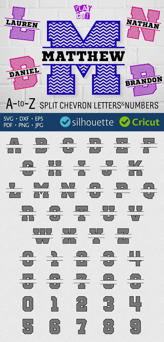 Split alphabet svg chevron monogram font svg files Cuttable font digital files for Cricut svg jpg png pdf eps dxf for Silhouette cut files