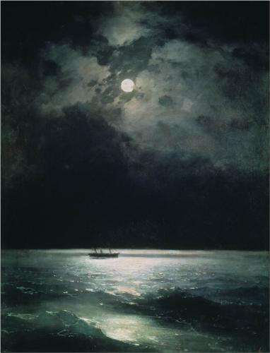 BLACK The Black Sea at night - Ivan Aivazovsky