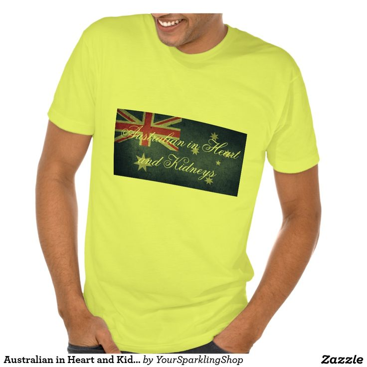 Australian in Heart & Kidneys, #Australia Men's American Apparel Poly-Cotton Blend T-Shirt