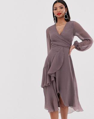 ASOS DESIGN wrap waist midi dress with double layer skirt and long sleeve | ASOS
