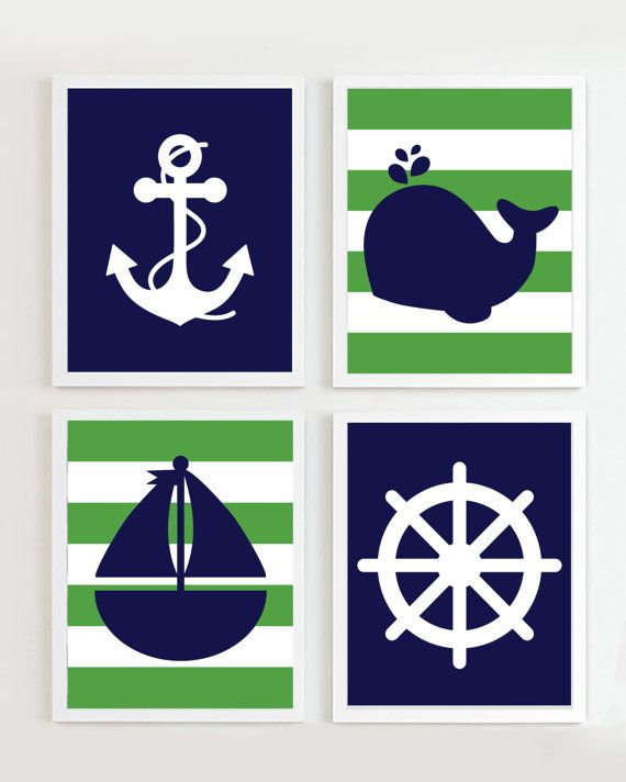 Nautical Nursery Navy and Green set of 4  Beach by PrincessSnap