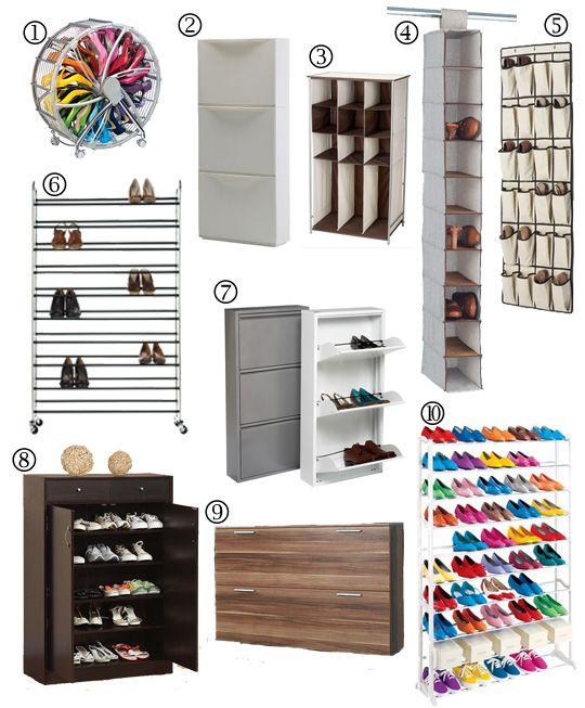 Lots of shoe storage ideas!
