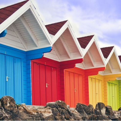 40 best exterior colors eye candy images on pinterest for Beach hut ideas