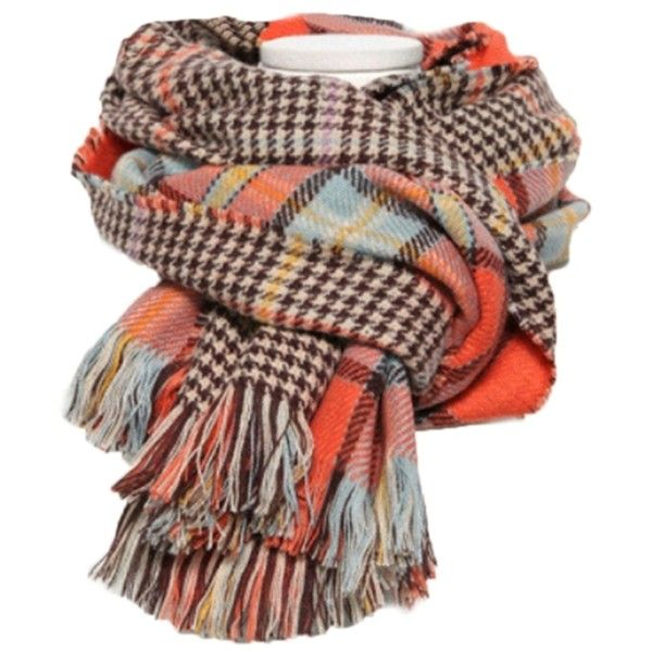 Orange Trendy Womens Fringe Houndstooth Pattern Plaid Scarf ($15) ❤ liked on Polyvore featuring accessories, scarves, orange, houndstooth scarves, houndstooth shawl, print scarves, fringe scarves and plaid shawl