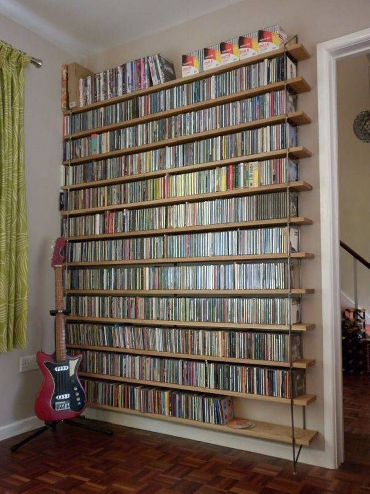 Storage And Organization , DVD Storage Solution Ideas : Industrial Style Open Shelves Dvd Storage Solution