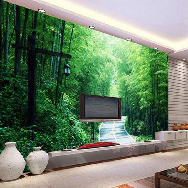 Sob encomenda Da Foto Papel De Parede 3D Estereoscópico Paisagem Pastoral Floresta De Bambu Papel De Parede Sala de estar Sofá TV Pano de Fundo Papel De Parede De Bambu