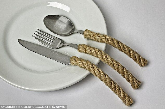 Crazy cutlery: Another of the bonkers images by Italian photographer Giuseppe Colaruss