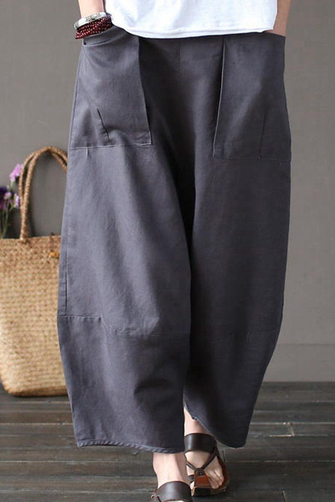 Gray Loose Cotton Linen Casual Ankle Length Pants Women Clothes P1203