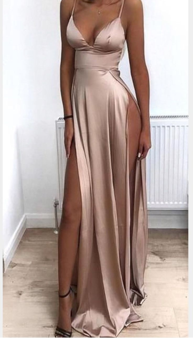 2019 Cheap Spaghetti Straps Side Split Simple Modest Sexy Prom Dresses, Evening …