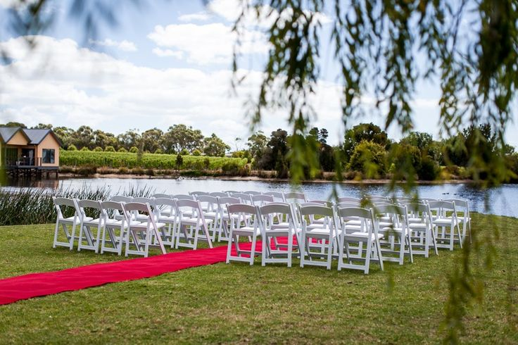 A beautiful simple set up for a wedding ceremony by the lake Weddings at Stillwater at Crittenden, Mornington Peninsula  www.stillwateratcrittenden.com.au