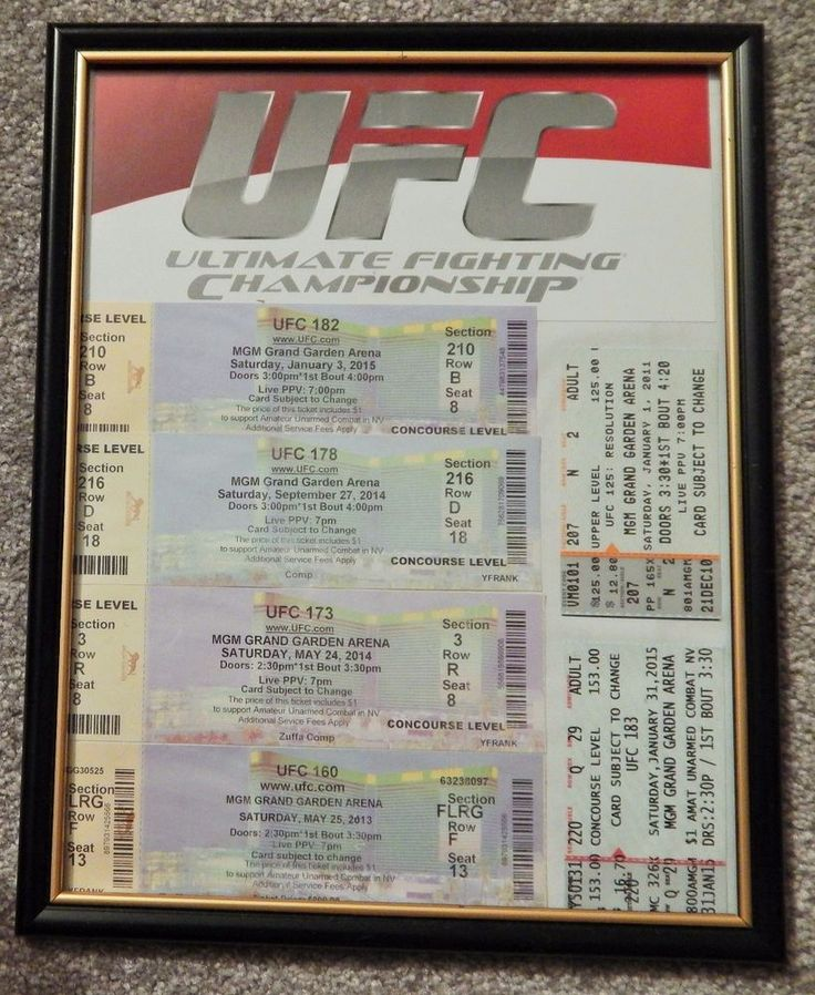 UFC ULTIMATE FIGHTING UFC LOT OF 6 FRAMED ORIGINAL USED TICKET MGM LAS VEGAS, #UFC
