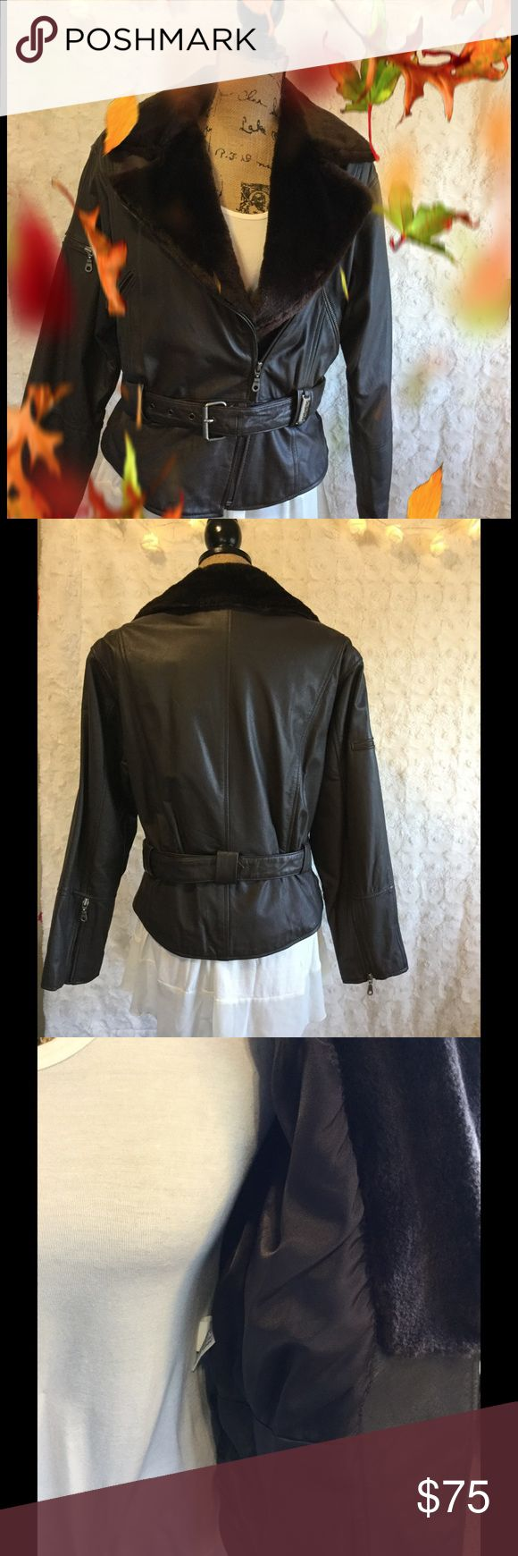 🍂 Leather Bomber Jacket Beautiful all leather brown bomber jacket with faux fur collar, zipper front, zipper cuffs, zipper pockets, belted, shell: leather, lining 50% Nylon, 50% Acetate Together Jackets & Coats