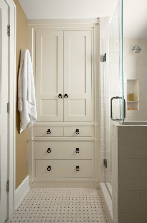 Bathroom storage cabinet - want this in the master bath in the toilet room. Make use of the wasted toilet adjacent space maybe?